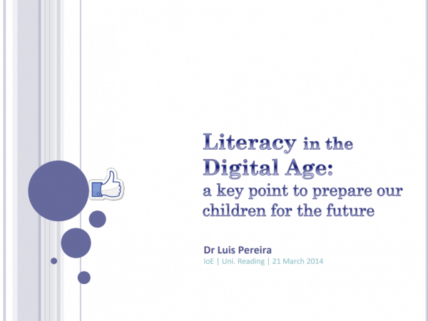 Screenshot of the first slide of the presentation. The title reads 'Literacy in the Digital Age: a key point to prepare children for the future.'